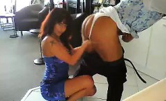 seductive brunette secretary has some fun with her boss in
