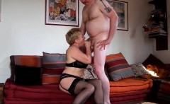 Short-haired mature blonde wants to try fucking a younger m