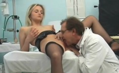Gorgeous blonde gets her tight peach licked and fingered by her doctor
