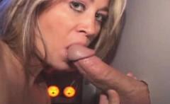 Blonde Bimbo Sucking Dick And Eating Cum Through Glory Hole