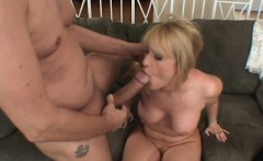 Big breasted wife has a hung stranger drilling her holes on the couch