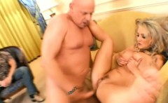 Astonishing blonde with big hooters fulfills her fantasy with two guys