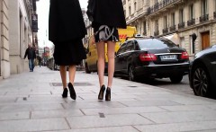 Two lovely hot girls go walking down the street and get fil
