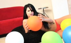 Sultry brunette Chloe gives a sensual lapdance and plays with balloons