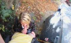 Pretty blonde cocksucker gets fucked doggy-style outdoors in a homemade sex video