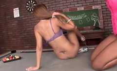 Hot ass lesbo face sitting her GF on pool table