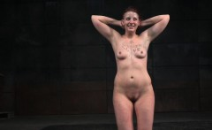 Naked slave whipped by her master