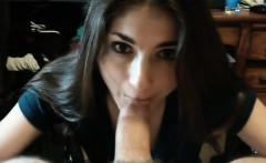 brunette cutie gives best blowjob ever