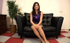 pantyhosed japanese cutie with a wonderful ass sits on a gu