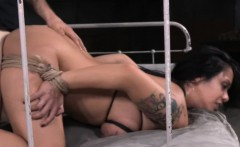 Restrained sub slut fucked in mouth and pussy