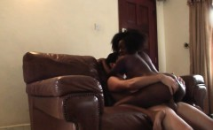 African slut rides my hard boner like crazy on sofa
