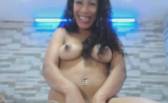 Curly Hair Ebony Babe Strips and Masturbates