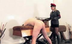 Uniformed mistress canes useless sub ass