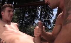 JJ sinks to his knees and expertly sucks on Wesleys big dick