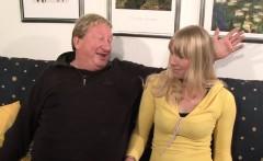 Horny blonde enjoys deepthroating hard old cock