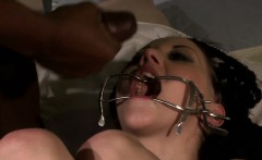 Tormented slave humiliated by big black cock