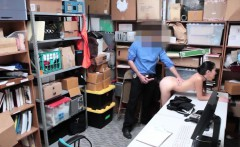 Skinny teen shoplifter fucks the shops security guard