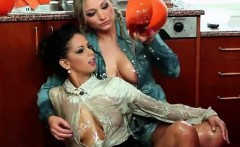 naughty young lesbians get wet and wild on the floor