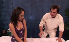 kristina is giving oil bath to erect and insert in her...