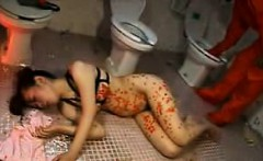 Submissive Japanese slut with a splendid ass gets covered i