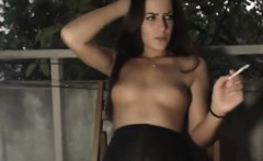nasty brunette riding her father on balcony