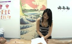 asian masseuse tugging and cocksucking client