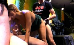 Cute blonde gives gangbang blowjobs