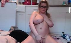 Chubby Blonde Rides Phony Body on Camera