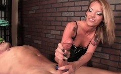 Bossy tattooed masseuse jerking off client