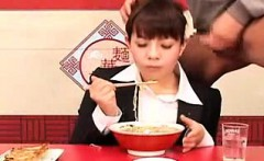asian gal is having a meal and he jerks off in it for her t