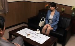Attractive Japanese babe with a heavenly ass bounces on a s