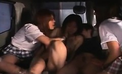 Asian schoolgirls give an initiation to one gal trying to j