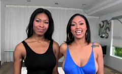 ebony babes cherry and nadia share white cock