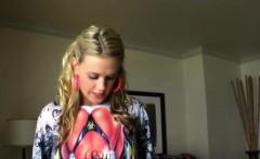 blonde teen shows her asshole