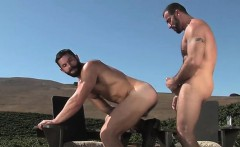 Brunette gay outdoor and facial
