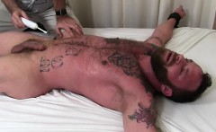 Muscular Derek with tattoos gets that good old tickle stuff