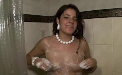 Slutty bitch masturbates while taking a shower