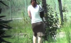 asian babes piss in park