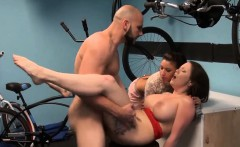Giant boobs woman drilled by bald man for some money