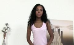 Ebony gal cock sucking on casting