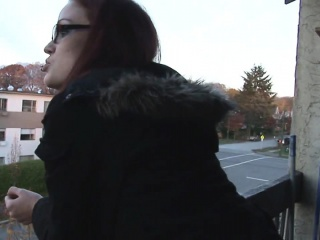 Jenn flashes her panties under her skirt while smoking a...