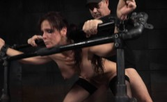 redhead bdsm sub pounded in pillory trio