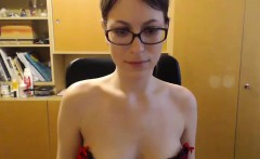 Sexy Brunette Teen Striptease On Her Cam
