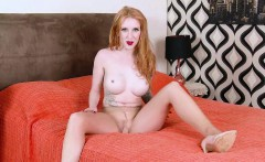 Big tits redhead babe plays with juicy pantyhose pussy