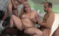 Fat Blonde Is Gang Banged By Five Guys