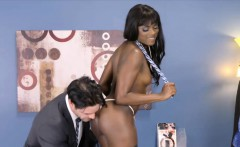 Ebony beauty in stockings gets a rough standing fuck