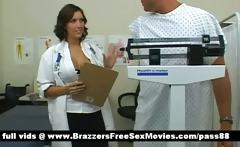 A guy in a medical office is consulted by a hot brunette