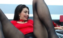 charming brunette filmed herself in a hot solo act