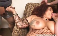 Big breasted fat girl getting pounded by two naughty guys