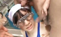 Asian schoolgirls have swimming glasses